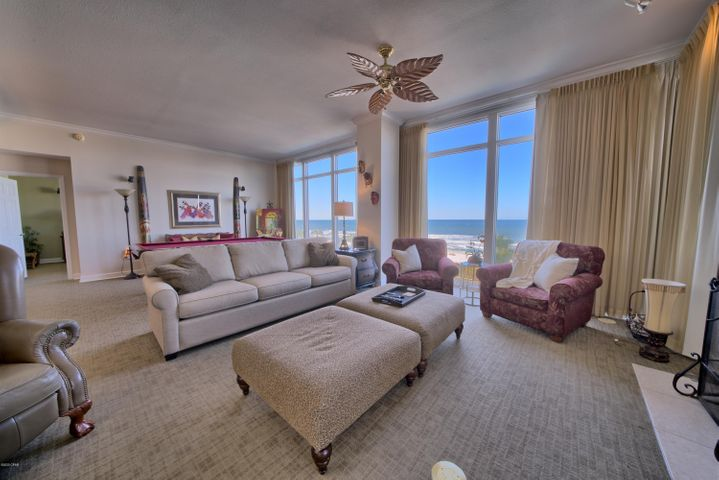This beautiful 4 bedroom, 4 bath unit is in the much desired Sterling Beach complex. This 3rd floor unit comes completely furnished and ready to use as a great vacation rental of your new home. This is a westerly corner unit that offers great views of the Gulf and the beautiful sugar sand beach. Located near great restaurants, entertainment and the St Andrews State Park. It is rare to have a unit come available in  this complex and especially one on a low floor. All information is believed to be correct but should be verified by the buyer.