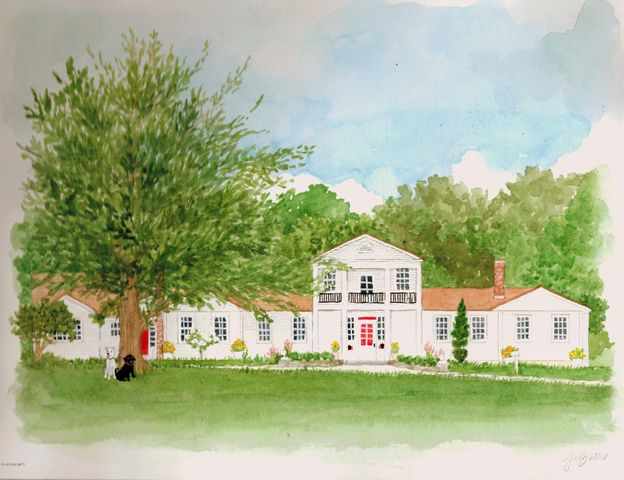 Artist's rendition of Main House and Attached Guest House