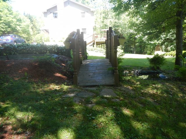 Pond with bridge in back yard