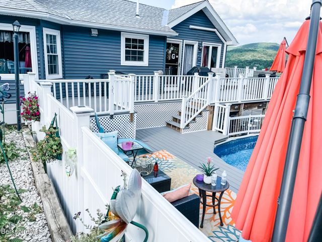 Pool deck and house