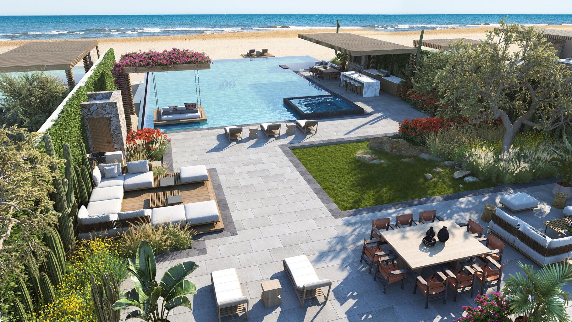 Beachfront villa terrace