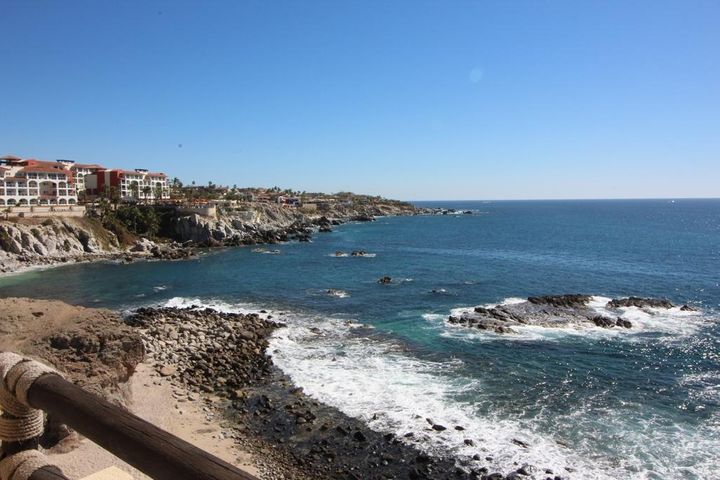 Sits right on the waters edge, features white water and blue water Sea of Cortez Views form miles.