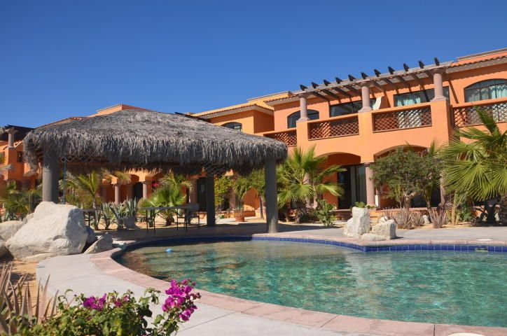 The pool with El Tule townhouse in the background.