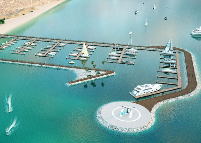 Rendering of the proposed 132-slip marina and helipad.