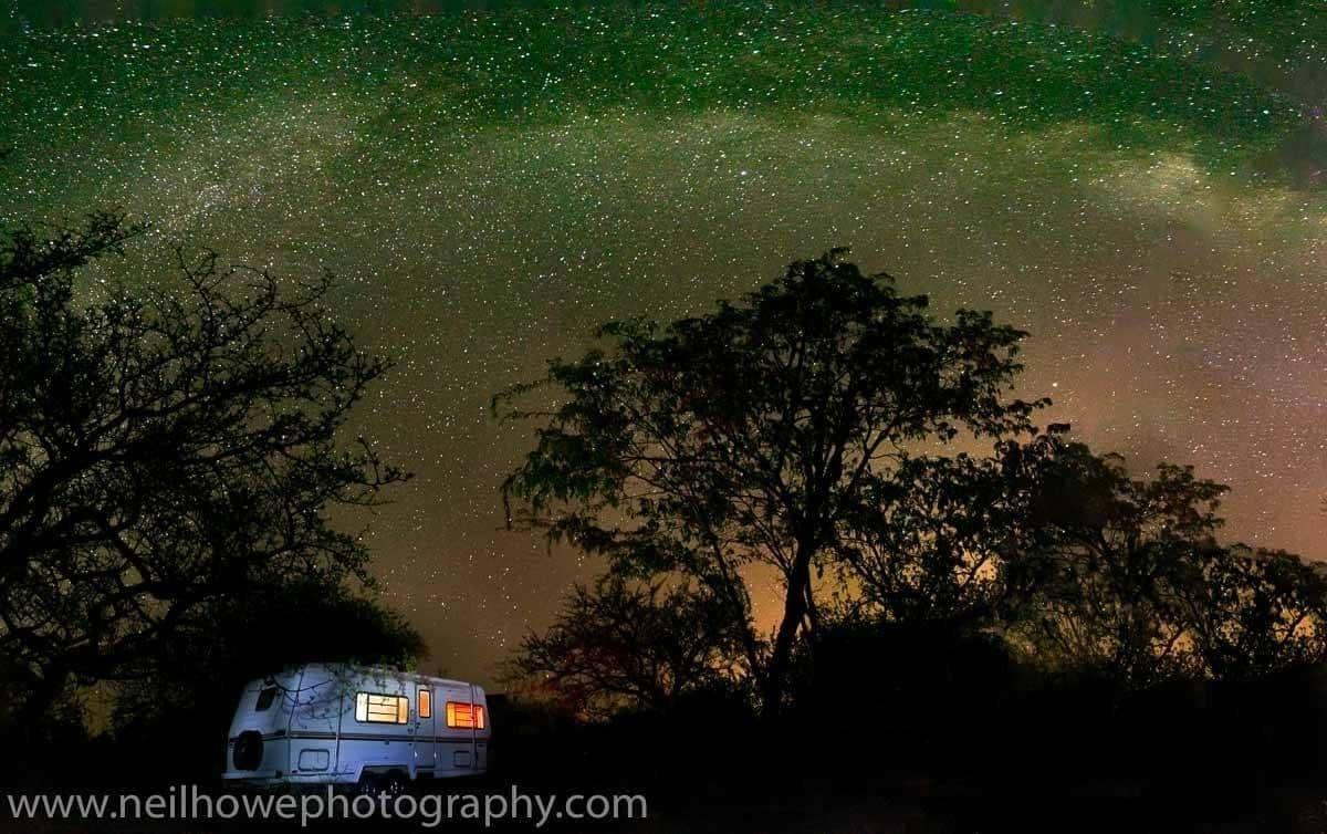 Night sky over lot