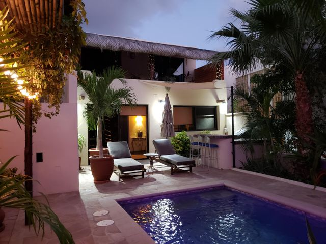 Evening in the pool and garden area.