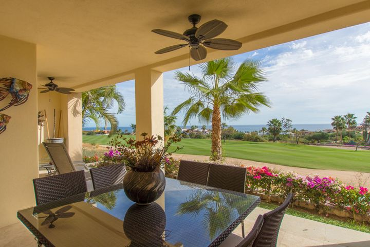 The only two bedroom condo available at Gardenias!  This ground floor unit is a rare opportunity to have the convenience of no stairs without sacrificing view. Gardenias is a mature gate guarded community within the Cabo Real Golf Course regime. The unit has forever views of the ocean across the 2nd fairway of the award winning Robert Trent Jones designed course. Large welcoming community pool with bar and bbq for parties. Community tennis and gym. Just 10 minutes from San Jose Centro and 15 from San Lucas. Easy to show.