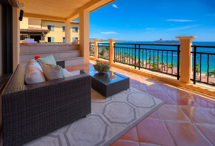 Sumptuous decor and amazing views are the hallmarks of this large penthouse overlooking famous Lands End on the bay of Cabo San Lucas.  Enjoy white sand views and the sounds of surf from all four bedrooms. Cozy up to the fireplace after a long soak in the terrace spa. There's ample room for a large family or group of friends to dine or gather in the open great room. Or relax, recharge and reconnect with in-house spa treatments and massages on the comfortable, roomy terraces. Hacienda Beach Club and Residences is a hideaway in the middle of the bustling town of Cabo San Lucas with a world-class spa, tiered swimming pools and beachside restaurant. Enjoy luxury resort concierge services, private chefs, daily housekeeping, babysitters, transportation, spa services and more. All of this is an easy walk from activities, shopping, nightlife and fine restaurants. The privacy and views of this penthouse, combined with its amazing central location, make this residence a lucrative rental.