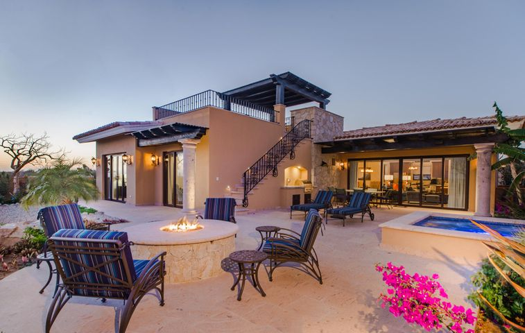 This stunning nest is located within the Casitas Phase 1 section  of the exclusive prestigious  Davis Love / Tiger Woods world class Golf Course Community of Diamante Cabo San Lucas: breath taking & guard-gated!And great views of the ocean, sand dunes, fairway and greens can be viewed throughout an entire year. This stunning nest is located within the Casitas Phase 1 section of the exclusive prestigious Davis Love / Tiger Woods world class Golf Course Community of Diamante Cabo San Lucas: breath taking & guard-gated! And great views of the ocean, sand dunes, fairway and greens can be viewed throughout an entire year. The casita offers three spaceful bedrooms each one with private bathroom and walk-in closet, delightful living room connected to the formal dining room surrounded by glass doors and windows, elegant finishes including polished flooring, gourmet kitchen with built-in refrigerator, top of the line granite counter tops, very spacious yard features a large spa, built-in BBQ: perfect for entertaining and gatherings! Double car garage, laundry room with washer and dryer ..and many more... The upstairs rooftop is a bonus: a private area to enjoy the dramatic sunset views, as the fiery red orb of light slowly sink beneath the horizon and paints the sky in pomegranate pink before darkness take over and sequin-silver stars illuminate the atramentous curtain of sky. The Casita is at a short (walking) distance to the Lagoon, Gym and Spa. Amenities: 10-acre saltwater Crystal Lagoon that offers family friendly activities, The SPA at Diamante: wide range of body treatments, facials, pedicures and manicures, Best in Class fitness facilities with cutting age training programs, internationally ranked Dunes Course designed by Davis Love III and Tiger Woods designed El Cardonal and par-three Oasis Short Course. Access to miles of hiking and biking trails, horseback riding..etc  What makes this Casita different than the rest!!!! Over $200K in Upgrades, Extras, Maintenance, 