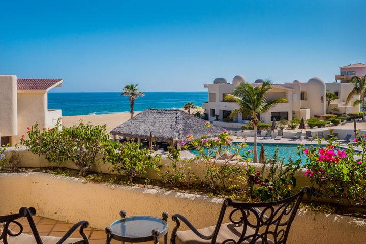 Amazing Location...on the sands of the Pacific Ocean, steps from Lands Ends and the famous Cabo San Lucas Arch. Views from the Living room, Dining Room, Master Bedroom and Kitchen looking straight across the white sands out to the Blue waters of the Ocean. Wow, what a location for living, but there is more...your only a 5 minute drive to the beating heart of Downtown Cabo San Lucas. If you chose to walk...it may take 10-15 minutes to reach the other side of the Marina to shops and restaurants, a casino or the Mall. A unique 3 bedroom unit, with a unique location and Not Another 3 bedroom for sale like this Gorgeous Condo. Imagine your own private romantic hide away on the beach in Cabo or Willing to share? potentially a cash cow for romantic rental getaways. Move in ready.