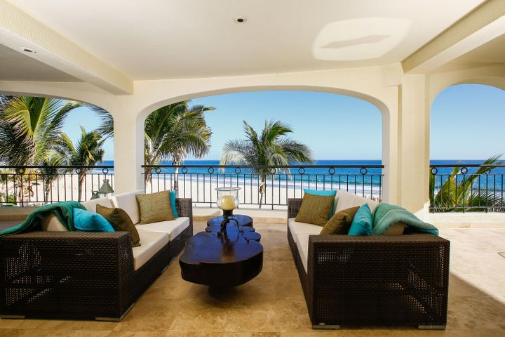 CONTEMPORARY BEACHFRONT VILLALocation is everything at San Joses upscale condominium resort TORTUGA BAY. The 1st phase of this exclusive enclave is comprised of 33 luxury condominiums, in two separate beach front buildings.Modern & stylish, 3rd floor, custom built, 4 bdrm/4 bath Villa. Innovative design by a Vancouver architect & interior designer with attention to every detail. Generous floor plan defines bright open spaces. Pocket doors open the indoor/ outdoors to blend seamlessly. Expansive terrace extends into a wrap-around deck w/ fireplace. Best spot to gaze at the sea, the stars and the ocean. Amazing beach front living. Open concept great room maximizes panoramic views. Vibrant gourmet kitchen w/ Viking, Sub-Zero, Bosch appliances & pantry. Offered with Furniture Pkg. & Gar Long elegant hallway leads into each of the perfectly appointed bedrooms and bathrooms. Zoned A/C, Satelite TV, Wi-Fi, Marble floors with granite & marble finishes throughout, purified water system, quality construction, dark wood cabinetry, and hurricane shutters.  Professionally decorated by Casa Paulina.  