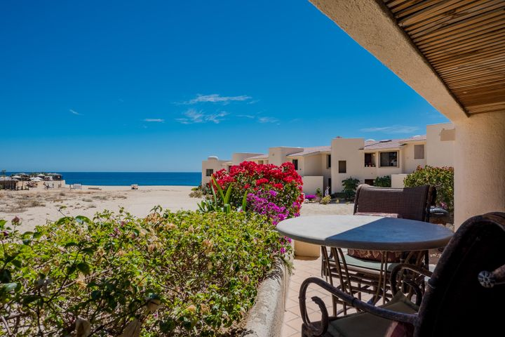 Beautiful Single Level Ocean View Condo on the Beach in Cabo San Lucas! This spacious and absolutely turnkey 2 bed, 2 bath Condo in Terrasol is 1,764 Sqft. Offers renovated bathrooms with marble through out and new stainless steel appliances in kitchen. Enjoy whale watching & spectacular sunsets right from your big, private terrace. Walk just a few steps to the beach and fall asleep with the Pacific Ocean surf. Terrasol is one of the landmark & most unique pieces of Real Estate in Cabo. The recently renovated common area offers palapa restaurant w/swim up bar, 2 pools, gym & tennis courts. Located walking distance to downtown, the marina, swimmable beaches, outstanding snorkeling, restaurants, shopping & much more. Excellent investment property with super high demand for vacation rentals.