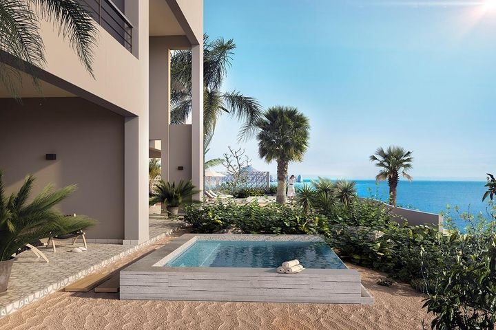 Located on the tip of the Baja California Peninsula, The Cape Residences are a boutique collection of full-ownership luxury condominiums perched above the surf, with stunning views of the iconic Cabo San Lucas' Arch. They re-define the concept of contemporary Mexican luxury with an ensemble of clean, modern, and minimalistic designs. With a subtle nod to the beach blanket lifestyle the Baja enjoys year-round, you are bound to experience something quite amazing. This one-bedroom residence offers an open floor concept, where the kitchen expands through the living room and out onto the lush terrace and private plunge pool. Owners have full access to all hotel amenities. The Cape Residences are a boutique collection of 34 exquisite, full-ownership residences at The Cape, a Thompson Hotel in Cabo San Lucas. Capturing magnificent views of Cabo's iconic arch, the luxury condominiums rise above Monuments Beach, a world-renowned surf break. Each residence showcases curated modern design and unrivaled ocean vistas while offering full-service, turnkey living and the exceptional resort amenities of The Cape.  Homeowners at The Cape Residences enjoy 24-hour security, valet, concierge, in-residence dining and impeccable property management service provided by The Cape. Residents have the option of participating in the full-service rental program managed by the hotel. They also enjoy preferred rates (a 25% discount) at the hotel, as well as full access to hotel amenities, which include an infinity-edged oceanfront pool, a second stunning salt-water pool, the Currents Spa and world-class dining. Among restaurants at The Cape is the globally acclaimed Manta, created by renowned chef Enrique Olvera. The Rooftop at The Cape, which offers live music and stunning sunsets, was selected by Condé Nast Traveler as one of the ten best rooftop bars in the world.  From their perch on Monuments Beach, the residences are located within a short five-minute drive from the world-famous restaurants,
