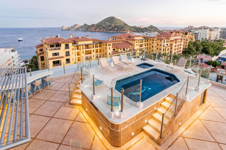 A Particularly Rare opportunity to Own 1 of 2 exclusive penthouses in the Medano 1 building Downtown Cabo San lucas!  This occasion does not come around very often. If you want something very cool here you have it. 3 bedroom 5 bathroom 3000 sq foot penthouse with your own rooftop Pool, Jacuzzi, Sauna, kitchen and Bar!  You have the Beach, the restaurants, the marina and one sexy Penthouse with underground parking all at your fingertips. One of the most unique units downtown cabo san lucas. Gourmet kitchen both in your Condo and on your rooftop patio...Your own private elevator from the underground parking right into your unit. Giving you that very private secure feeling. A beautiful beach access to the nicest piece of beach on medano. Feel like a king and queen at the top of it all. There is a unit below the penthouse that is attached by a spiral staircase.  It has gone to foreclosure and is now available for purchase.  Please see MLS 21-1326 for information.  Having both would be a three level, 6 bedroom, 7 bathroom penthouse downtown Cabo!  There's nothing like that anywhere!
