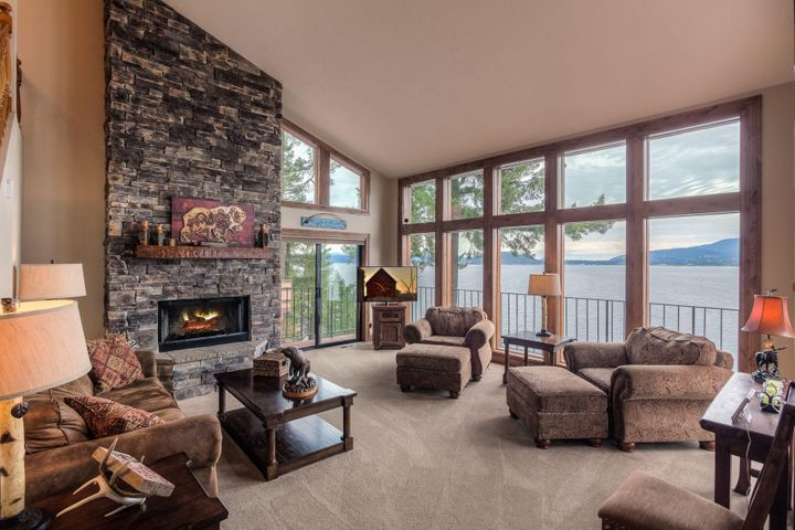 Beautiful stacked stone fireplace with view of Tubbs Hill