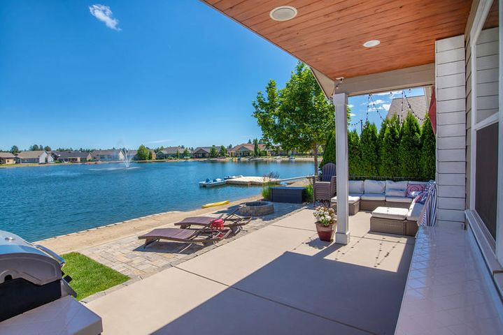 Walk out patio to waters edge