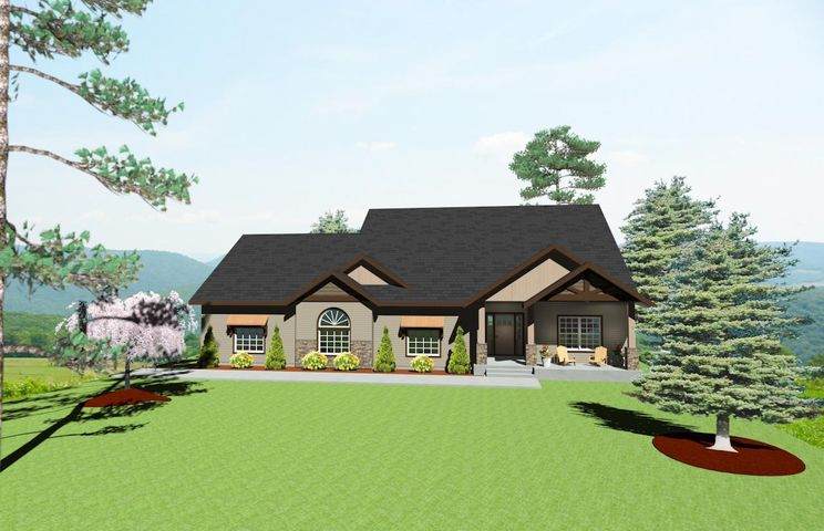 2178 sq. ft. custom ranch style home, to be built, with bonus room above oversized 4 car tandem garage. Open floor plan with covered rear patio. Granite counter and stainless appliance. Gas fireplace. Laminate flooring in main living areas. Carpet in bedrooms. Large master with walk in closet, double sinks and fully tiled shower. Matching 30 x 40 shop with electric power, overhead door and man door. Call listing agent for full list of amenities. Enjoy Lost Creek Estates newest 3rd Phase with 160 acres of open space and access to over 3 1/2 miles of trails, including timber framed bridge over year round stream.