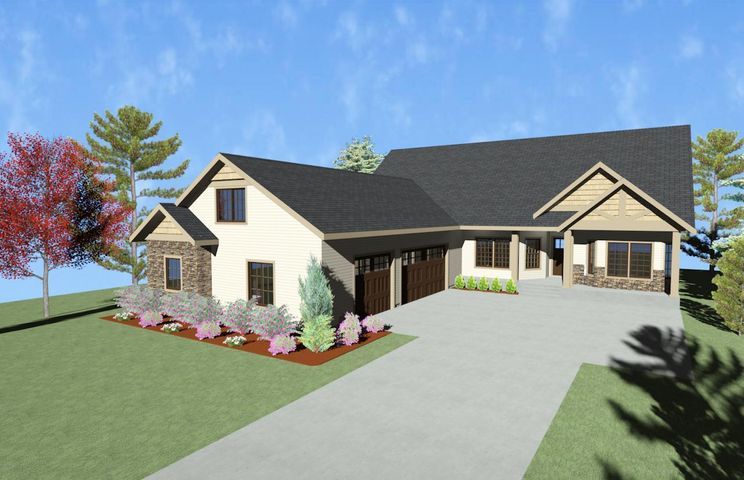 2,662 sq. ft. custom ranch style home, to be built, with bonus room above oversized 3-car garage. Open floor plan with 2 covered patios. Granite counters and stainless appliances, Gas fireplace, Laminate flooring in main living areas. Carpet in bedrooms. Large master with walk-in closet, double sinks and fully tiled shower. Matching 30x40 shop with electric power, overhead door and man door. Full list of amenities available. Enjoy Lost Creek Estates' newest 3rd phase with 160 acres of open space and access to over 3.5 miles of trails, including timber framed bridge over year-round stream.