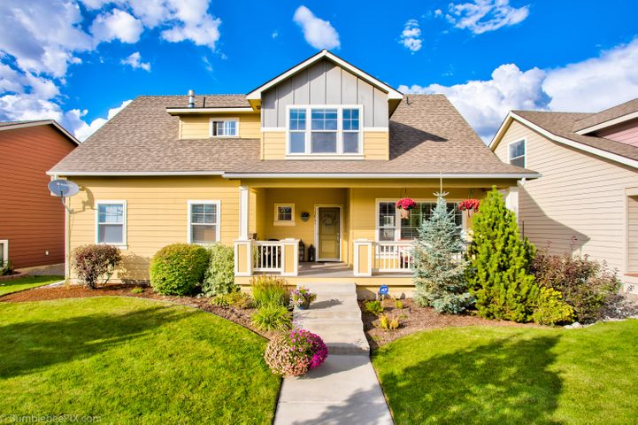 From the oversize covered front porch to the 4 car garage, this well appointed CDA PLACE home is a must see! With nearly 2400 sq ft, this roomy craftsman home offers 4 bedrooms 2.5 (+) baths and spaces for everyone to spread out. It has open living, an upper level loft or den and lower level bonus space w/egress ready to finish as you like! Open kitchen with island and to-die-for windows! SS appliances, newer refrigerator, master suite with soaking tub & walk in closet, PLUS a partially finished basement including an egress bedroom and (+)fully rough-plumbed 3RD BATH! Add 9' ceilings, a heat pump. Wifi thermostat and pristine back yard, this home checks all the boxes! HOA includes back alley plowing.
