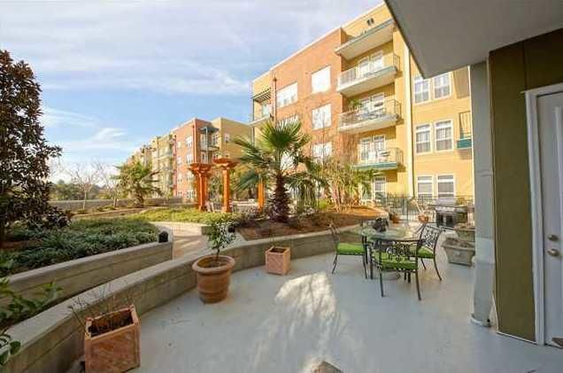 Relax in the outdoor living space at 145 Pier View, Unit 108.