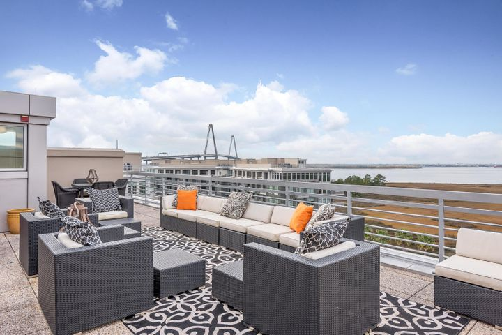 Penthouse Rooftop perfect for entertaining space with gorgeous views of the Charleston Harbor and lowcountry marsh.