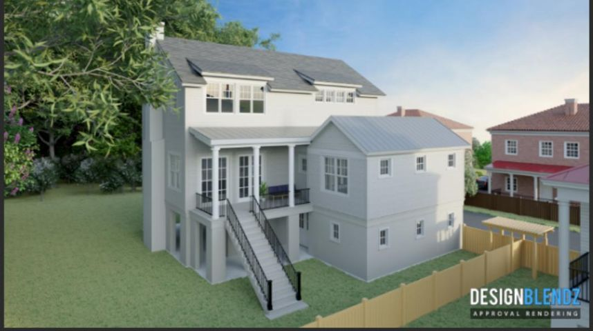 Front porch entry. Rendering.