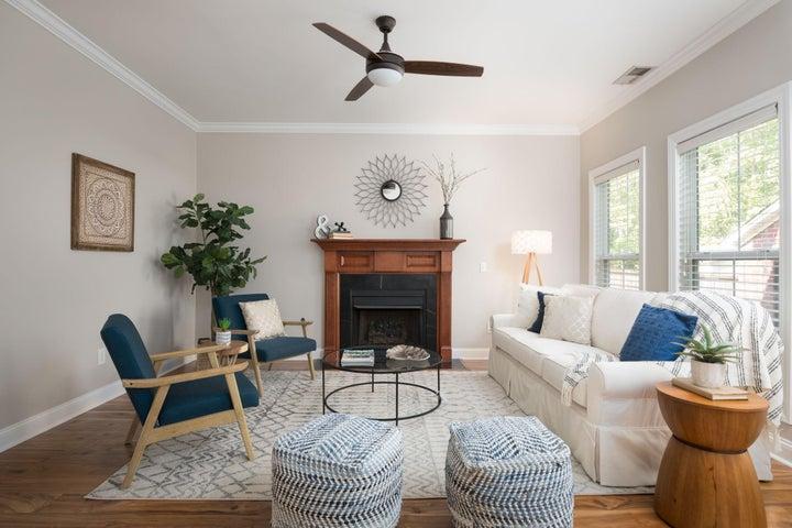 Living Room / Den overlooks Backyard