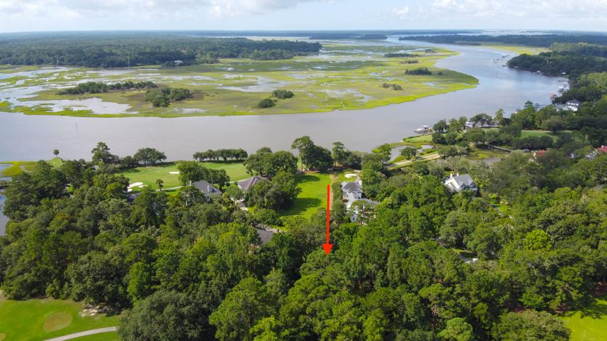 aerial view of lot with views of the 15th and 16th hole. An elevated home would have views of the Stono river