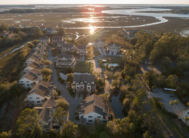 overrall view of Salt Marsh with Salt Marsh dock for boating activites, crabbing/fishing, and sunset watching