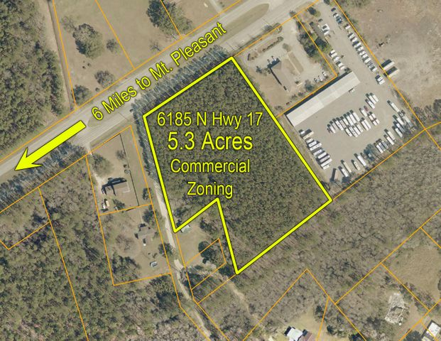 AWENDAW COMMERCIAL ZONING - 5.3 acre tract with approximately 350' of frontage on Hwy 17 between Doar and Seewee roads.  Lot is conveniently located 1 mile from Awendaw's proposed Town Center, just a few hundred feet from the Francis Marion National Forest. Town Water and Power at front of lot. Lot is completely wooded with mostly pines (approximately 20-25 year old) which could provide timber income.