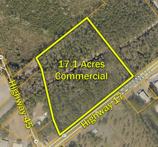 AMAZING INVESTMENT OPPORTUNITY! 17.1 acres zoned commercial with approximately 1045' of frontage on Hwy 17. Tract is located in prime location between the two entrances to McClellanville. This property can be used for commercial, residential, or mixed use and with the agricultural tax exception you can hold it and pay almost nothing in property taxes ($100.36 in 2020). In that holding time it you could also enjoy the property for recreation, hunting, or farming.  The track is bisected by a drainage ditch with 10 acres in the front and 7 in the back. This presents a natural boundary in which you could develop the front as commercial and the back as residential.