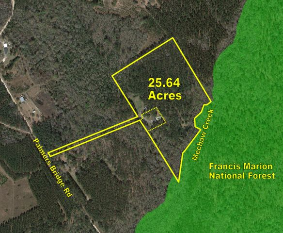 OUTDOOR SPORTS PARADISE - Frances Marion National Forest. Just minutes from the quaint fishing village of McClellanville and access to the Atlantic Ocean.  Peace and Tranquility will surround you in this exclusive country estate located 3.5 miles off of US Highway 17. This amazing tract offers a rare opportunity to have your own rural retreat with over 1100 feet on Meechaw Creek abutting U.S. Forest land. With a private quarter mile of driveway through the woods, one can experience total seclusion. The 25.64 acre parcel is diverse with upland pine, mature hardwoods including several 150 year live oaks, flooded timber, and spring fed pond with beautiful cabin site. Deer, turkey, wild boar and wood ducks are a frequent sight as well as other small game and wildlife. Included in the overall acreage is a 1.24 acre parcel with a 2,555 sq.ft. residence on a cleared home site with swimming pool and pool house/studio apartment (236 sq.ft).The 3 Bedroom 2 1/2 Bath home has a first floor Master Bedroom with cathedral ceiling, Bath, garden tub and walk-in closet. Exotic woods throughout the house such as the the well equipped kitchen with beautiful custom built African Mahogany cabinets and red oak floors with Brazilian cherry inlays that carries into the formal dining room and downstairs with the exception of the family room which is Caribbean heart pine flooring. In the spacious family room there is a wood burning fireplace and vaulted ceiling. A trophy room with space for multiple mounts is adjacent to the family room and comes with a beautiful wet bar made of Australian cypress. This room also leads outside to an open deck which overlooks the pool and patio. Upstairs there are 2 more Bedrooms both serviced by a full bath, along with a spacious room over the garage for future expansion or storage. The attached two car garage provides great security and extra storage. Outside and rear of the house there is also a pool house that is equipped with bathroom and could easily be used as an efficiency apartment. For gardening or boarding horses there is a one acre pasture with plenty of room to expand. With miles of trails for hiking or horseback riding there are limitless opportunities for outdoor activities here. With endless unpaved back roads nearby, this location is ideal for horses, outdoorsmen and nature lovers looking to discover all the wonders that this diverse area has to offer. If you are longing to get away and experience the Lowcountry sporting life with out the price tag of an upscale hunting compound this is a must see! Call to make an appointment for your showing today.
