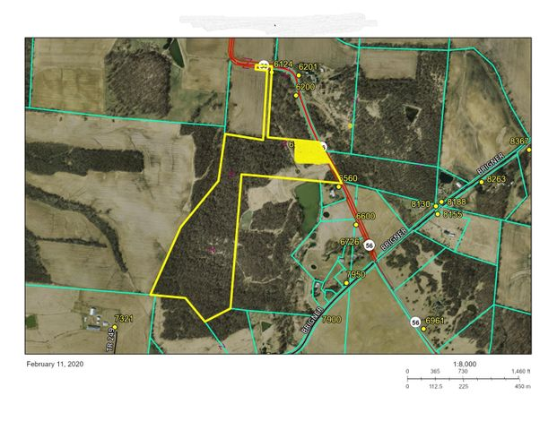 yellow shaded area is the 4.346 acres split from original 2 parcels and is not included in this transaction