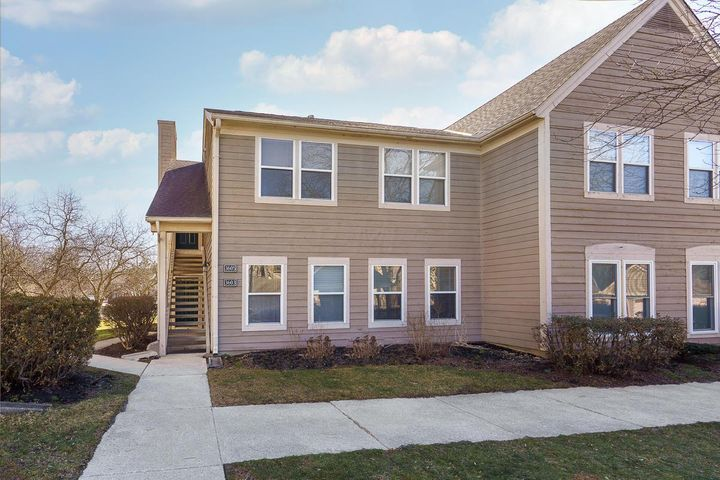 First floor, end unit condominium at the desirable Millington condo complex conveniently located close to downtown Columbus and easy access to 33 and 270. Open floor plan with lots of natural light and and sliding glass doors to the covered patio area offering views of the pond (which only a small portion of the condos in the complex have). The kitchen boasts stainless steel appliances and has island seating. Two bedrooms and two full bathrooms, in unit laundry and a one car garage are other features. HVAC 2016. The Mllington has a pool and clubhouse- move in just in time to enjoy summer days by the pool and evenings on your porch overlooking the pond!