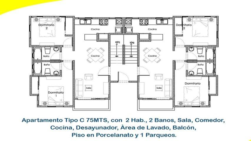 Apartamento Santo Domingo>Distrito Nacional>Altos de Arroyo Hondo - Venta:3.490.000 Pesos - codigo: 21-895