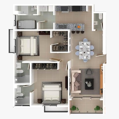 Apartamento Santo Domingo>Distrito Nacional>Bella Vista - Venta:128.500 Dolares - codigo: 21-1177