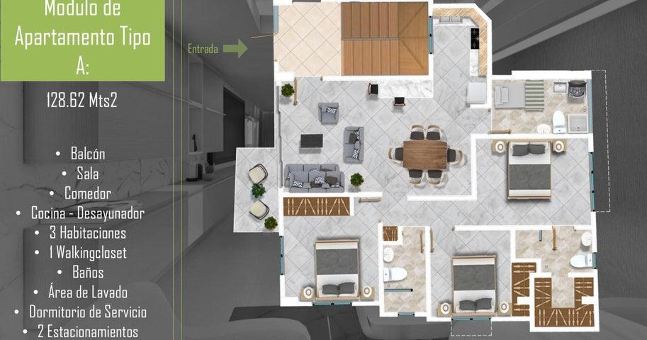 Apartamento Santo Domingo>Santo Domingo Oeste>Mirador Oeste - Venta:124.000 Dolares - codigo: 21-3215