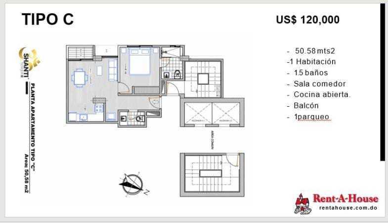 Apartamento Santo Domingo>Distrito Nacional>Evaristo Morales - Venta:118.000 Dolares - codigo: 21-3241
