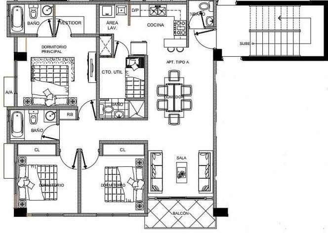 Apartamento Santo Domingo>Distrito Nacional>El Cacique - Venta:131.500 Dolares - codigo: 22-288