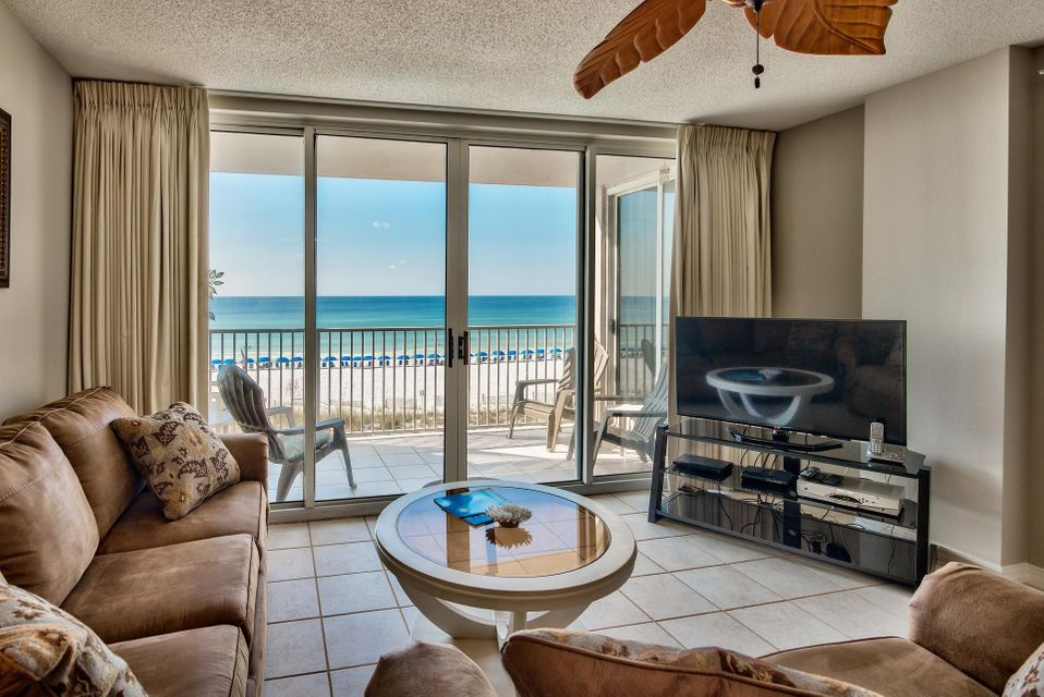 Best views available at Island Princess, a low-denisty luxurious Gulf front condominium on Okaloosa Island with just seven stories. This 3-bedroom, 3-bath condo is direct Gulf front and located on the desirable 4th floor - high enough for prime views of the Gulf of Mexico and low enough to hear the waves! The floor plan is also ideal with a Gulf front master bedroom and each room has an en-suite bathroom for privacy. The unit is being sold fully furnished & decorated and was just repainted for a fresh look. Floor to ceiling sliding glass doors truly maximize the views and the open floor plan is great for entertaining. Tile floors extend throughout the main living areas, making this unit easy maintenance for beach living. All the floors were just steam cleaned and there is assigned parking. The kitchen features beautiful stainless steel appliances, ample cabinets & pantry and a curved breakfast bar, great for casual dining. There is an additional dining area for six with Gulf views and a cozy living area with flat screen TV and sleeper sofa. Access the private balcony from the living area and master bedroom and enjoy outdoor dining or simply relax or enjoy a cup of morning coffee from the master to breathtaking views.   The master bedroom is separate from the guest bedrooms off the living area and has panoramic views of the Gulf as well as an en-suite bathroom and direct balcony access. The bathroom has an oversized soaking tub and tile floors. The two guest bedrooms are towards the front of the unit and each has en-suite bathrooms. There is additional storage inside the unit by the entrance and a stackable washer & dryer that conveys. This unit is currently an income producing rental unit with ResortQuest by Wyndham Vacation Rentals but could also be a great second home or full-time residence, being it is a low-density complex.   Island Princess has private beach access to approximately 500' of pristine beach to enjoy. The pool deck has plenty of space for lounging 