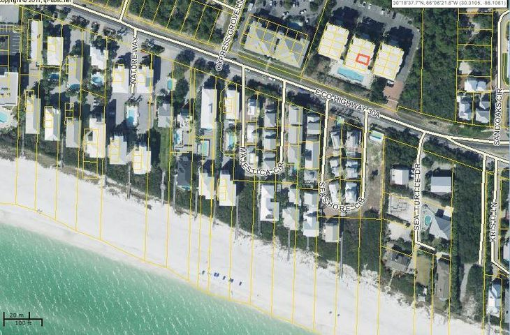 Aerial view shows proximity to the beach