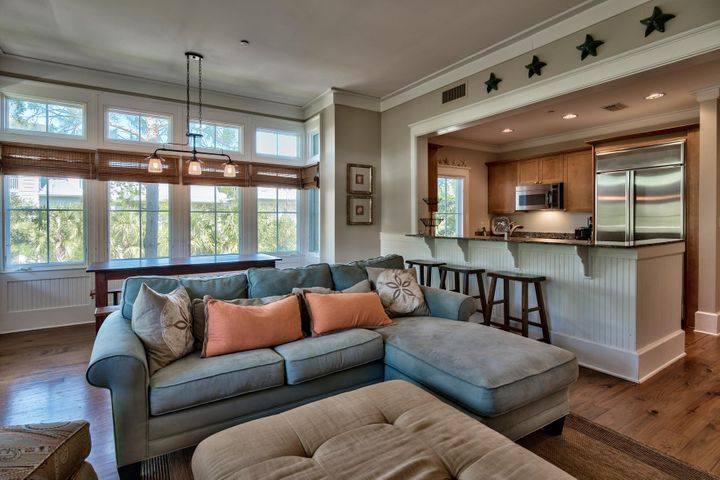 Spacious living, dining and kitchen areas.