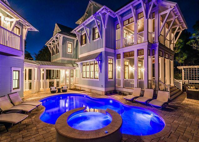 Pool lights up beautifully at night!