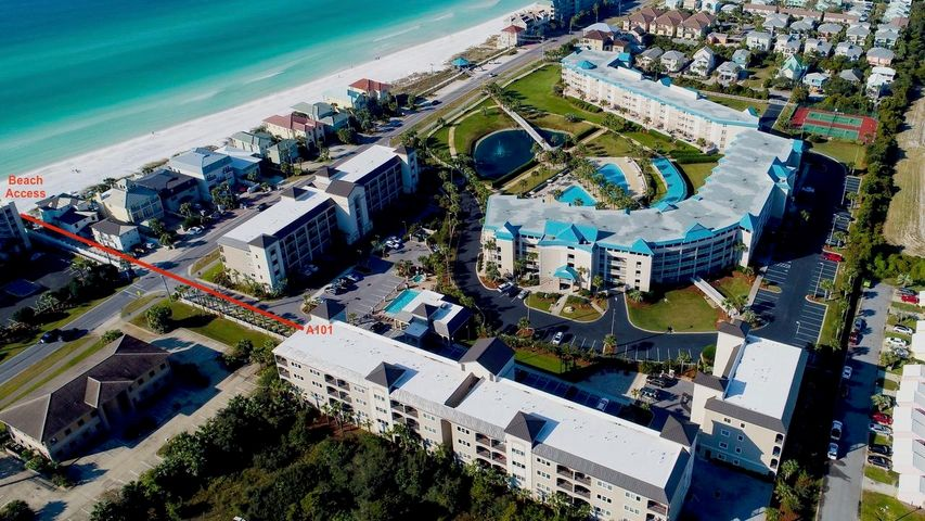 Alerio Gated Community is across the street from the Beach & has a heated pool, hot tub, (both with Pool Lift Chair), kids splash pad, BBQ/grilling area & picnic area.