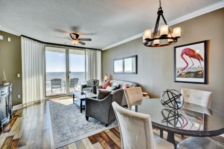 609 Aqua Living area with beautiful wood floors.