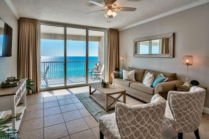 If you are looking for that one-of-a-kind luxury condo offering features that are unmatched along the Emerald Coast, then this is the perfect oasis. Unit #507 is the only 3-bedroom unit available at Palazzo and is in a great location of the building - with four floors of underground garage, this is 9th floor elevation. Enjoy incredible views of the Gulf of Mexico through the floor to ceiling sliding glass doors & windows. Access a spacious 246 sq. ft. balcony from the living area and master bedroom, which is the perfect place to relax, dine or entertain. This unit was just beautifully updated with fresh paint and professionally decorated with a welcoming coastal feel! It is turn key and being sold fully furnished and decorated. Interior features include raised ceilings, crown molding, an open floor plan and recessed lighting. Capture Gulf views from nearly every room including the kitchen, dining area, living area and master bedroom. The open kitchen features thick solid granite countertops & wraparound breakfast bar and plenty of storage with ample hardwood cabinets and pantry. There is a dining area for with Gulf views and a great living area with plenty of room to relax.   The Gulf front master bedroom has direct access to the balcony, beautiful views of the Gulf of Mexico and crown molding. It offers a king bed, flat screen TV, walk-in closet and en-suite master bathroom. The bathroom is quite large with a double vanity, Whirlpool tub and separate walk-in shower. The guest bedroom also has an en-suite bathroom along with a queen bed and flat screen TV. There is an additional guest bedroom with two twin beds and another guest bathroom with pedestal sink and walk-in shower. This unit sleeps 8 guests and has a full size washer/dryer closet with storage. It is fully turn key and will make a great rental investment, second home or perfect full-time resident, as this is a lower density building for Panama City Beach.   Palazzo amenities include an elevated Gulf side pool, hot tub along with a boardwalk and designated beach with complimentary beach service (Mar-Oct). The fitness facility and on-site lobby is Gulf front and there is a meeting room available. The HOA is established and does a phenomenal job of keeping the building maintained. At Palazzo, you are on the desirable West End of Panama City Beach just 1 mile from Pier Park shopping center and less than 20 minutes from the Panama City Beach International Airport. Unlike the competition, Palazzo is a low-density building consisting of only 129 direct Gulf Front units and has four levels of covered Gulf Front parking under the building - no need for massive parking garages with elevated walkways across the street. Do not miss out on this incredible opportunity to own an affordable 3-bedroom unit at one of the finest condominiums in Panama City Beach!