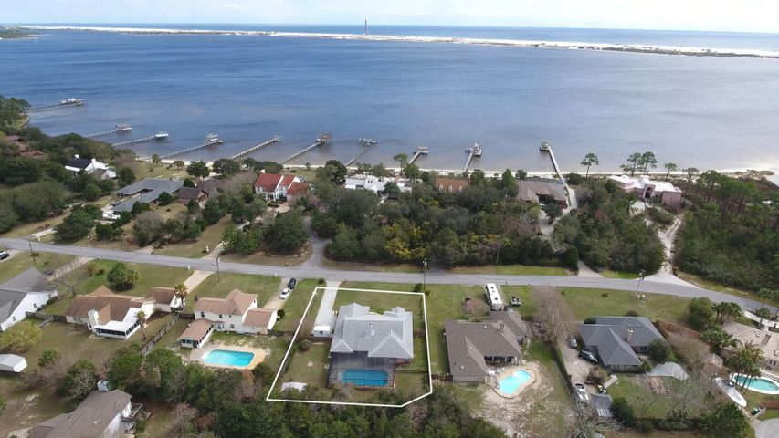 Ariel view over Santa Rosa Sound showing location of 200 Wynnhaven Beach Rd!