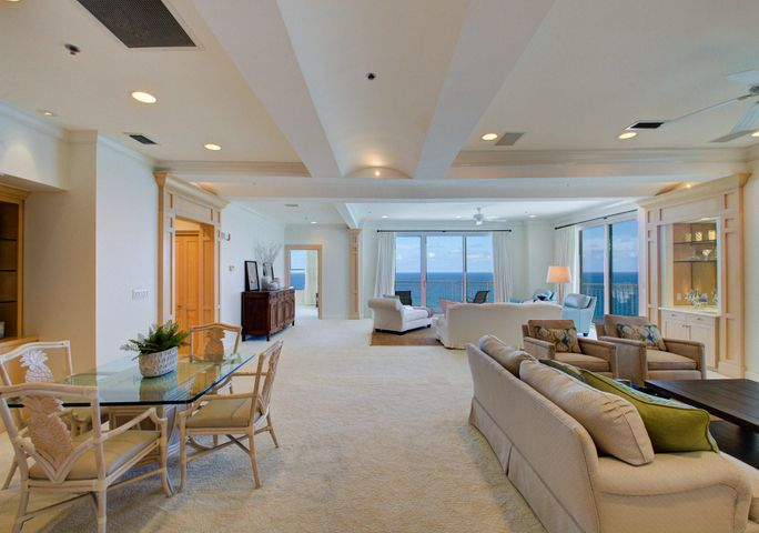 Gracious, spacious living room with multiple activity centers
