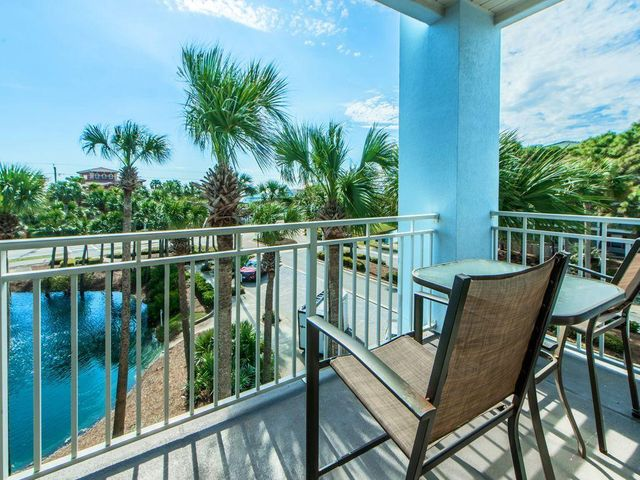 Balcony overlooking pond and 30A with Gulfviews