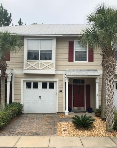 This townhome is in one of the best locations in the Eagle Bay Subdivision. One unit from the end and located on a cul-de-sac means you have no through traffic and extra parking outside your door.  Upgrades  completed in 2018 including Pergo hardwood style flooring upstairs, paint throughout, finished attic for extra storage. Other upgrades include finished garage shelving and cabinetry, and zero maintenance landscaping. Eagle Bay contains both detached and attached homes with dedicated green common areas. Located in Santa Rosa Beach and convenient to 30A, the beaches of South Walton, Grand Boulevard, Sacred Heart Hospital, shopping, dining, and schools. This townhome is perfect for owner occupancy or long-term rental. The unit features 3 bedrooms and 2.5 baths, 1-car garage, private porch, Hardie Board siding, and metal roof. The unit has a great floorplan, very functional with plenty of space.